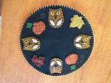 HANDMADE PENNY RUG Candle Mat Owls with Pumpkins and Fall Leaves