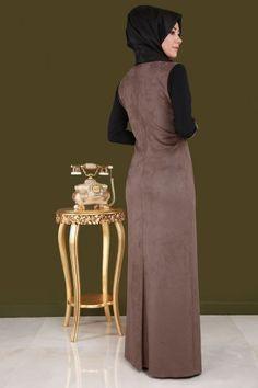Çift Renkli Süet Detay Elbise YGS6006 Vizon&Siyah - Thumbnail