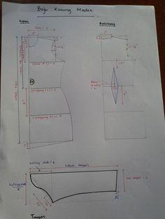 POLA KURUNG MODEN RALAT: 2 formula di atas tu terbalik 'keliling dada/8' patutnya diatas. dan yg 'keliling dada/4' di tepi.