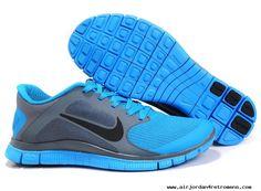 Mens Nike Free 4.0 V3 Cool Grey Black Hyper Blue Shoes