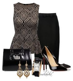 """""""Black Wrap Watch"""" by imclaudia-1 ❤ liked on Polyvore featuring Burberry, Jane Norman, Gucci, Juicy Couture and Christian Louboutin"""