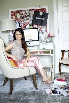 similar to my desk... like the stacked books and lamp.  The Chic Office Spaces Of Our Favorite Business Women
