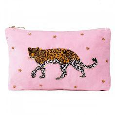 Buy Leopard pink velvet travel pouch from Elizabeth Scarlett. Featuring a delicately embroidered leopard motif onto a luxurious pink velvet fabric. Cotton Velvet, Pink Velvet, Kenya, Safari, London Brands, Rangers, Bag Illustration, Scarlett, White Leopard