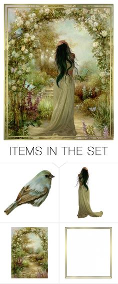 """""""Spring Breeze"""" by kyckastra ❤ liked on Polyvore featuring art, green, butterfly, garden, bird, spring, roses, flowers and aqua"""