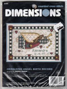 """1996 Dimension Cross Stitch Kit """"Heralding Angel Birth Record"""" #6701 D. Mumm #Dimensions #BirthRecord"""