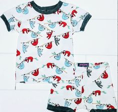 Items similar to Sloth Kids Pajamas, Organic Cotton Matching Pjs, Sleepwear Pajama Set on Etsy Cotton Pjs, Cotton Sleepwear, Toddler Pajamas, Pajamas Women, Sloth Pajamas, Bright Shorts, Boys Pjs, Matching Pjs, Summer Pajamas