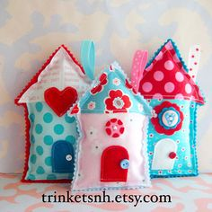 These cute house-shaped pillow ornaments are perfect for adding a little cuteness to your home! Made of new cotton fabric, they are filled with new
