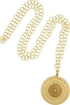 Finds + Joyas Fio gold-plated filigree coin necklace | NET-A-PORTER