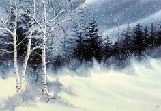 A larger photo of the print, Snow Birches, from an original watercolor by Kathy Glasnap