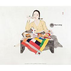 this isn't happiness™ (Kim Hyun-Jung), Peteski Korean Traditional, Traditional Art, Traditional Clothes, Korean Painting, Illustration Story, Korean Hanbok, Indigenous Art, Korean Artist, Figure Painting