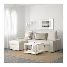 IKEA - VILASUND, Bettsofa/Recamiere, Dansbo beige,  , , Taschenfedern entlasten den Körper und tragen zur ausgeglichenen Lage der Wirbelsäule bei.Eine feste Matratze, die gut stützt und für allnächtliche Benutzung geeignet ist.Die Récamiere kann links oder rechts vom Sofa aufgestellt und nach Wunsch jederzeit umplatziert werden.Aufbewahrung unter der Récamiere mit Arretierung im Deckel zum sicheren Verstauen und Herausnehmen.Leicht sauber zu halten - der abnehmbare Bezug kann in der Mas...