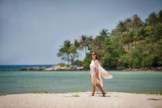 Best tropical vacation destination! Long walks on the beach with Great Thai Style beach front pool villa at Anantara Phuket Layan Resort & Spa, Thailand.