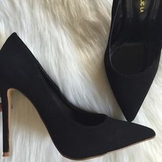 Black| Faux Suede Pumps Worn twice, great condition. They are faux suede material. Size 7 1/2. Shoes Heels
