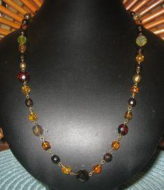 ON SALE Autumn Hues Fire Polished Czech Glass Beaded Brass Link Necklace