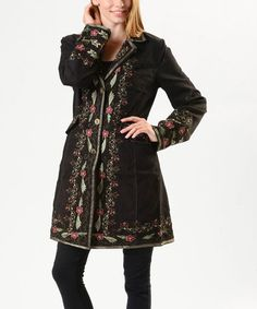 Look what I found on #zulily! Black & Gold Floral Embroidered Jacket by PAPARAZZI #zulilyfinds