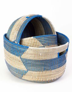 This handmade, durable basket set is perfect for holding toys and treasures. #boysnursery