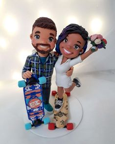 Wedding Cake Toppers, Wedding Cakes, Sports Wedding, Clay Design, Longboards, Cold Porcelain, Happily Ever After, Snow White, Disney Princess