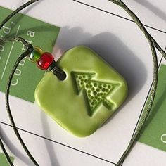 Green polymer clay square pendant with Christmas tree