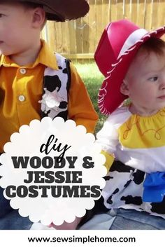 Sew up your own adorable DIY Woody and Jessie Costumes with this tutorial Halloween Sewing, Fall Sewing, 31 Days Of Halloween, Halloween Projects, Halloween Costumes, Woody And Jessie Costumes, Woody Costume, Yellow Fabric, Super Happy