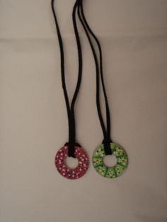 Washer necklaces - Easy! Large washers, nail polish and suede cording. Use 2 coats of any color nail polish. you will get a different effect if you brush, dab or swirl it on. Next, use accent colors to decorate.  I purchased nail decor that has really thin brushes - the type your manicurist uses to make fancy designs on your nails - they are 3 bottles for 5 dollars at 5below.  let dry. Apply 2 coats of clear nail polish. Thats it!!     This was a huge hit with 5th graders at our Christmas…