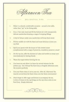 afternoon tea tips