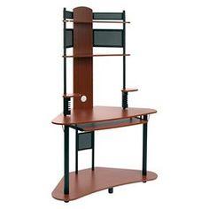Arch Corner Desk with  Multi Level Storage  - Cherry / Black