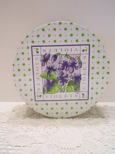 Violets Vintage Tin Purple Green Cream Design Storage by vertzvkv, $15.00