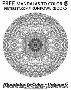 Printable Coloring Pages For Adults | For more free Mandala Coloring Pages @ironpowerbooks | Hi @ mommy2iandm, we love coloring too, we've got lots of original FREE Mandalas to print on our boards, please follow to be updated when we add more! Happy Pinning