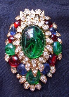 Ciner Brooch Cabachon Green Red Blue Stones Crystals Gold Tone Setting Vintage Sold for $ 163