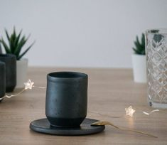 Handmade Black Ceramic Coffee Cup and Saucer, Matte black, pottery, rustic Ceramic Coffee Cups, Coffee Cups And Saucers, Cup And Saucer, Candle Holders, Candles, Ceramics, Unique Jewelry, Handmade Gifts, Etsy