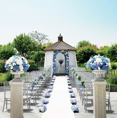 blue Wedding aisle flower décor, wedding ceremony flowers, pew flowers, wedding flowers, add pic source on comment and we will update it. www.myfloweraffair.com can create this beautiful wedding flower look.