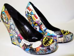 Batman Custom Made Wedges. Hand Made Shoes by MadHatterDesigns87