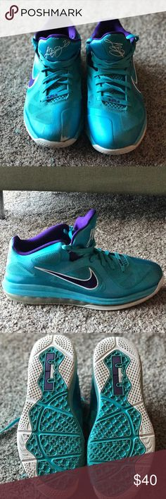 Lebron Low 9 Hornet Shoes Nike Lebron Hornet basketball shoes. Well loved with some flaws (see pictures), price reflects condition. Still in good shape and have plenty of more life. Great for basketball or everyday wear. Colors: Teal and Purple Nike Shoes Sneakers