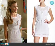 Paige's white lace panel dress on Royal Pains.  Outfit Details: https://wornontv.net/57701/ #RoyalPains  Buy it here: http://wornon.tv/36135
