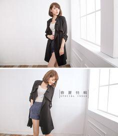 Cle 2 Chic-正韓-個性美人輕薄綁帶風衣外套-(黑色) - Yahoo!奇摩購物中心
