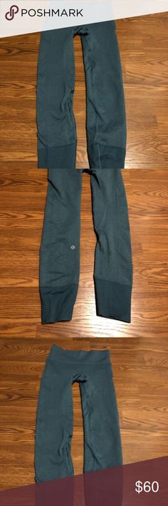 Lululemon leggings Amazing fit super comfy and flattering worn once full length have a legging thermal look/a pretty blue green hard to find these!:) lululemon athletica Pants Leggings