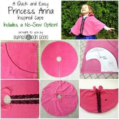 Easy Princess Anna Cape (or other dress up cape) - costs a couple dollars, is ready in minutes, and has a no-sew option!This Princess Anna Cape was so quick and easy, it makes the perfect DIY cape for kids. We've made many dress up costumes and share Anna Cape, Sewing Tutorials, Sewing Crafts, Sewing Projects, Sewing Patterns, Sewing Hacks, Dress Patterns, Sewing For Kids, Baby Sewing