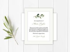 Sympathy Acknowledgement Cards, Funeral Thank You and Bereavement Notes, Personalized Greenery Eucalyptus Customized Wording For Funeral