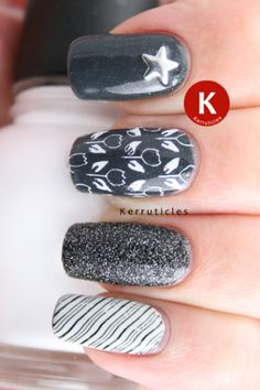 Grey, black and white skittle manicure using Essie Cashmere Bathrobe, L'Oréal Black Diamond, OPI MBSW, MoYou XL Pro 14, Cheeky CH11 and a star stud