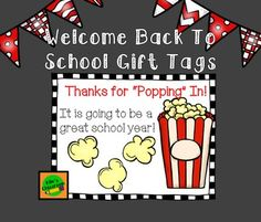 "Popcorn Gift Tags for Back To School Night / Open HouseGet these cute labels to attach to a bag of microwave popcorn as a  Thank You Gift for your families to start the school year! These labels are super cute and ready to use with Avery labels # 5164 size 3.33"" x 4"" or print on paper and attach with double sided tape! *********************************************************************More Great Products from Kile's"