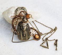 Egyptian King Tut Wire Wrap Artisan Triangle Pendant Tiger's Eye Metal Beads #Jeanninehandmade #Pendant