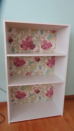DIY Fabric back on shelf. Looks so nice.  My shelves are about 6 feet tall.