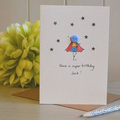 Personalised 'Button Superhero' Hand Illustrated Card - mother's day cards