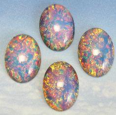 2 pcs 25x18 mm Pink Opal Vintage Glass Cabochon Stones S-12 P