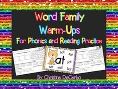 This 74 page word family packet includes a fun, interactive practice page for 35 different word families that are commonly taught throughout the year. It also contains a colorful, visual poster for each of the 35 word families. The warm up pages include a trace, read, and write section, a word search that contains 5 words containing the word family, a section for students to color-code real and nonsense words as they practice reading and decoding skills, and a short, silly story that ...