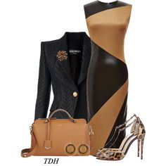 Black & Brown by talvadh on Polyvore featuring moda, FAUSTO PUGLISI, Balmain, Christian Louboutin, Fendi and Jamin Puech