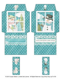 Digital printable holiday tea bag envelopes. His and Her snow friends all ready to place in your holiday gift baskets, stockings, or maybe with a pretty holiday tea cup as a gift for a co-worker or friend. Cut out, fold on the appropriate lines, paste (Ive found E-Z Runner Scrapbook Adhesive to be easy and perfect for the job.), attach the little tag to the tea bag with staple or adhesive, and voila! Ive found that if your printer allows borderless printing, you should choose that to print…