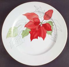 Block, Poinsettia - Page 1 Christmas Poinsettia, Christmas Plates, Xmas, Holiday Dinner, Holiday Ideas, Green Plates, Beautiful Table Settings, Dinner Plates, Creative Design