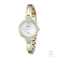 Seiko Women's SUP290 Solar Bangle Analog Display Japanese Quartz Gold Watch