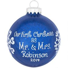 Personalized First Christmas As Mr And Mrs Blue Glitter Ornament $12.99